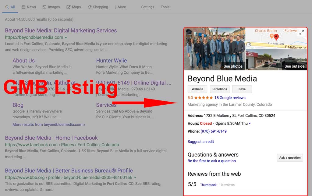 Beyond Blue Media Google My Business listing