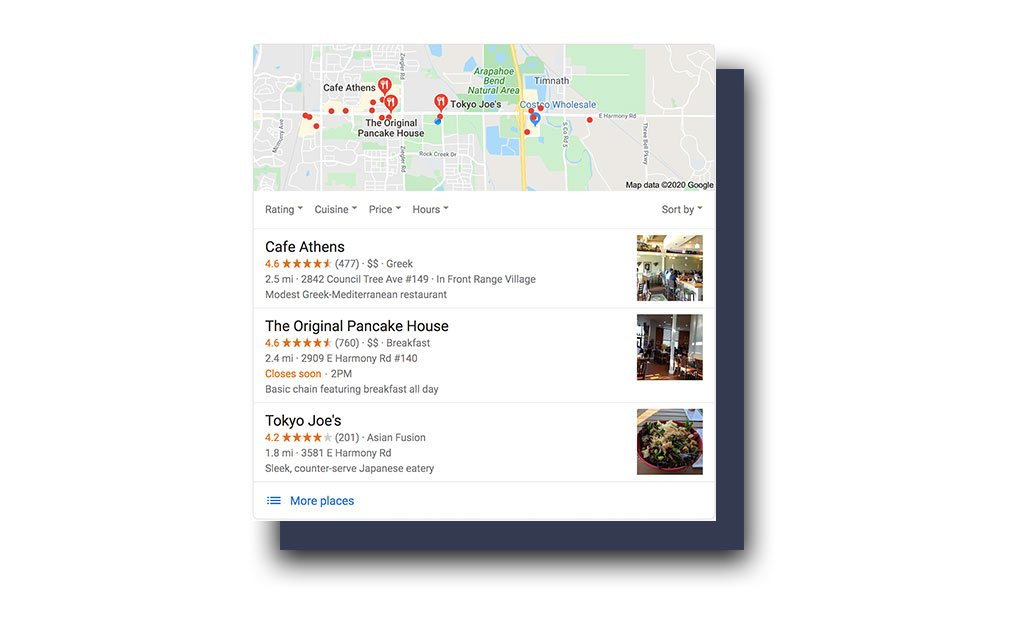 Google search on desktop computer for restaurants near me