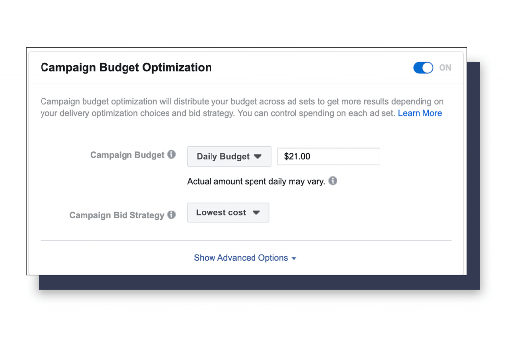 CBO tool in Facebook Ads Manager